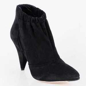 BLACK SIMONE SUEDE GATHERED ANKLE BOOTIE